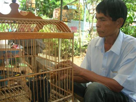 ... _Amri Simatupang saat memberi makan anakan beo deng